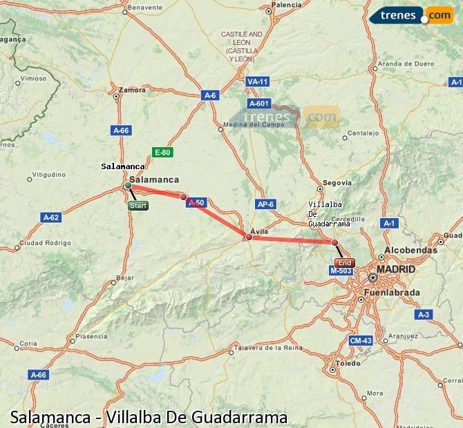 Enlarge map Trains Salamanca to Villalba De Guadarrama