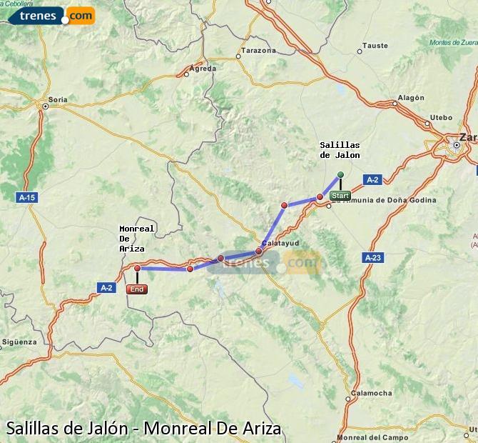 Agrandir la carte Trains Salillas de Jalón Monreal De Ariza