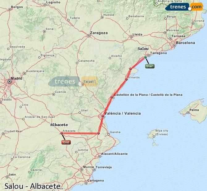 Ampliar mapa Trenes Salou Albacete