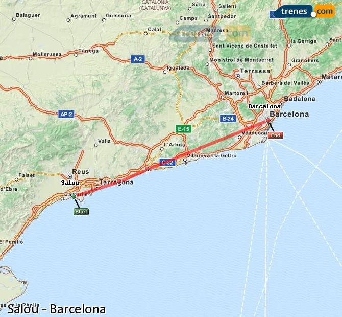 Map Of Spain Showing Salou.Cheap Salou To Barcelona Trains Tickets From 4 60 Trenes Com