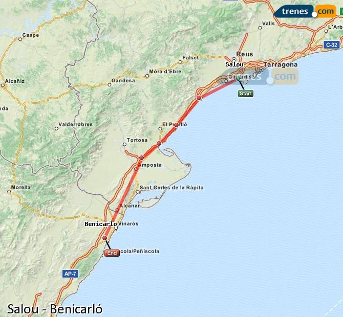 Enlarge map Trains Salou to Benicarló