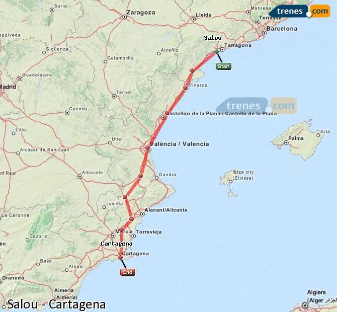 Ampliar mapa Trenes Salou Cartagena