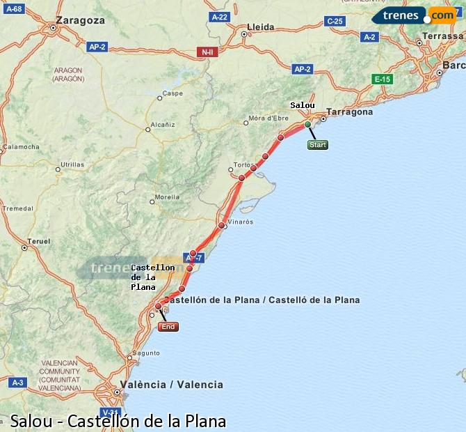Enlarge map Trains Salou to Castellón