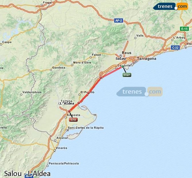 Karte vergrößern Züge Salou L'Aldea