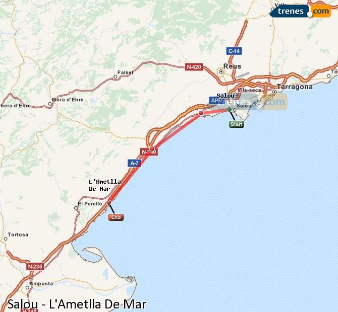 Ingrandisci la mappa Treni Salou L'Ametlla De Mar