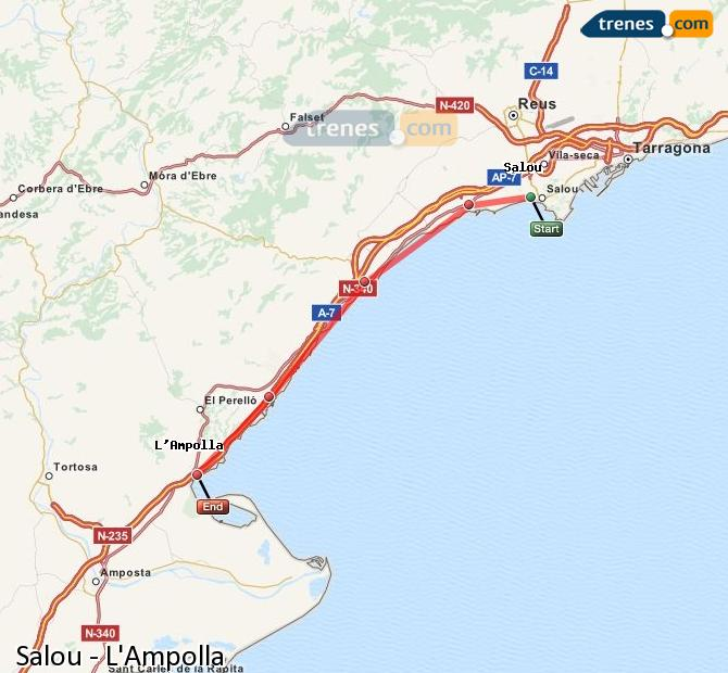 Enlarge map Trains Salou to L'Ampolla