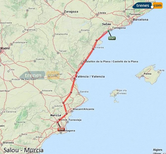 Ampliar mapa Trenes Salou Murcia