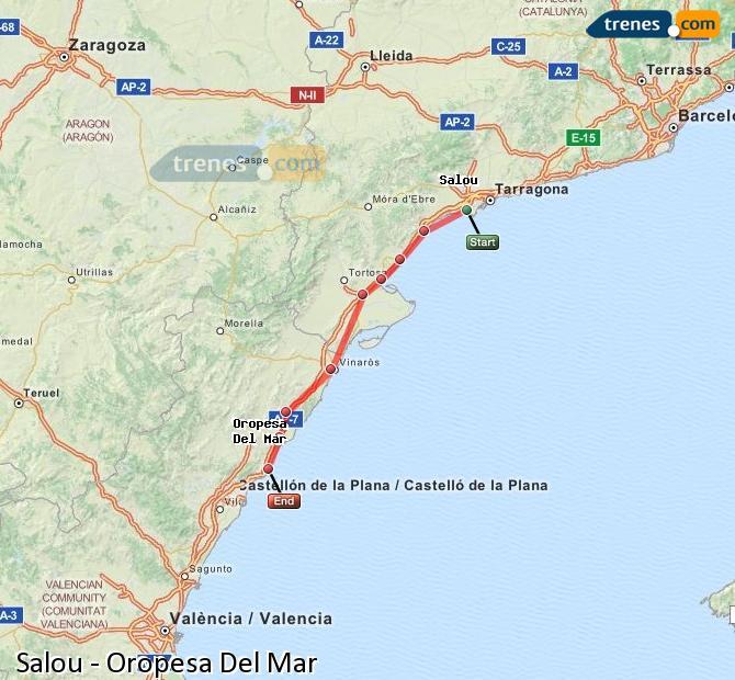 Karte vergrößern Züge Salou Oropesa Del Mar