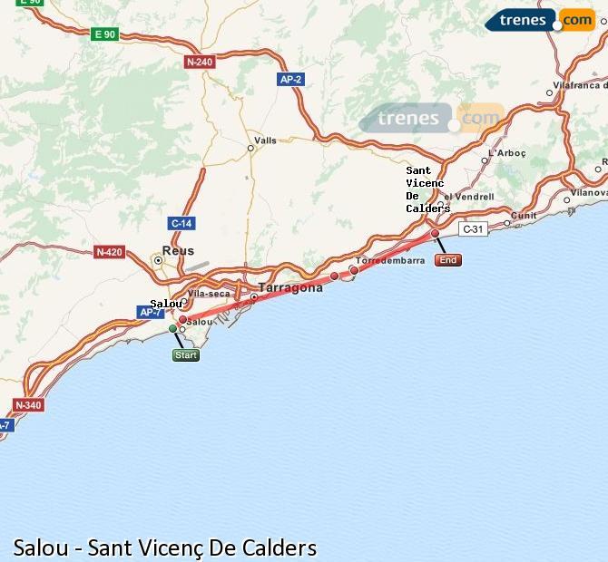 Agrandir la carte Trains Salou Sant Vicenç De Calders