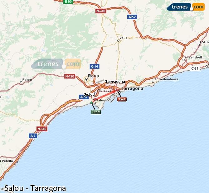 Enlarge map Trains Salou to Tarragona