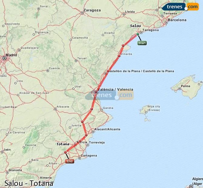 Agrandir la carte Trains Salou Totana