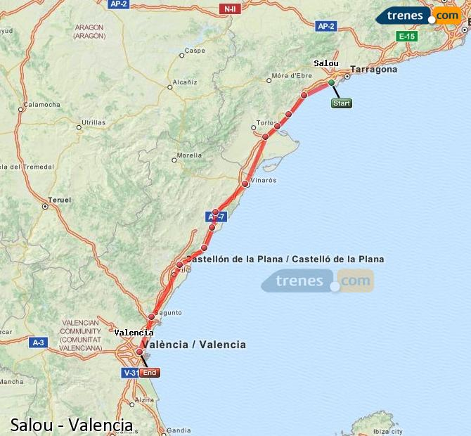 Enlarge map Trains Salou to Valencia