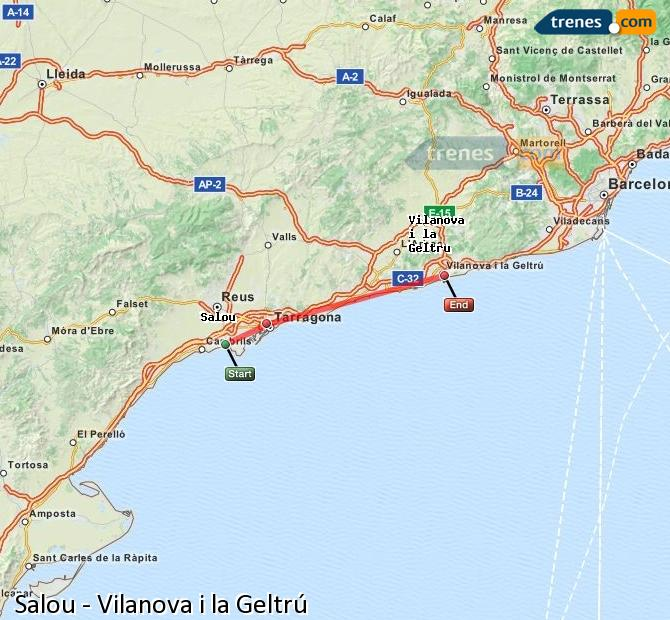 Enlarge map Trains Salou to Vilanova i la Geltrú