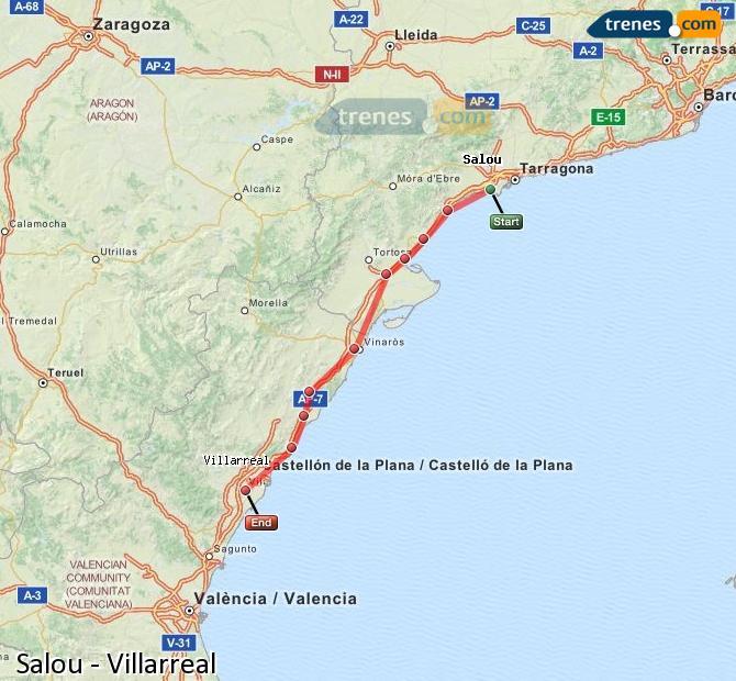 Agrandir la carte Trains Salou Villarreal