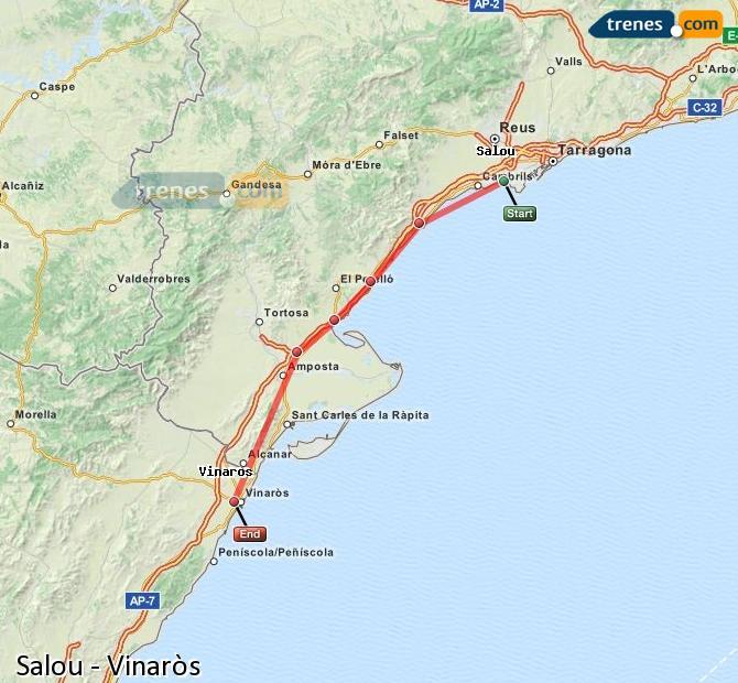 Karte vergrößern Züge Salou Vinaròs