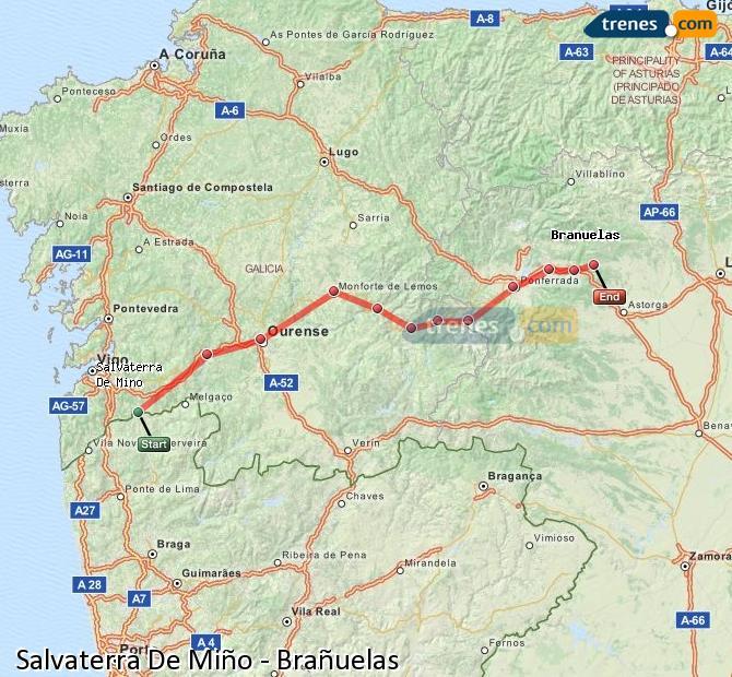 Karte vergrößern Züge Salvaterra De Miño Brañuelas
