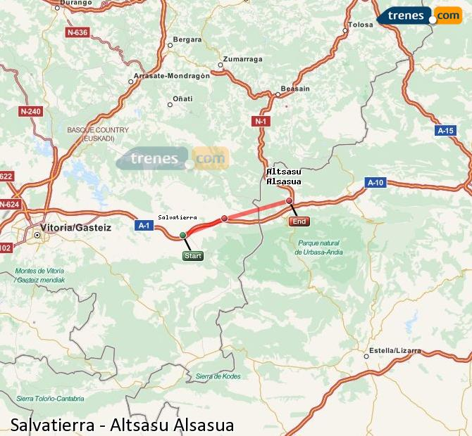 Enlarge map Trains Salvatierra to Altsasu Alsasua
