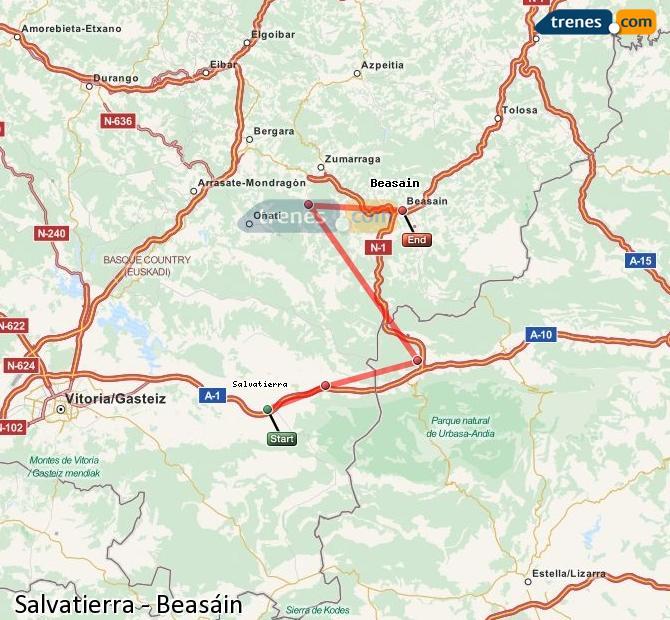 Enlarge map Trains Salvatierra to Beasin