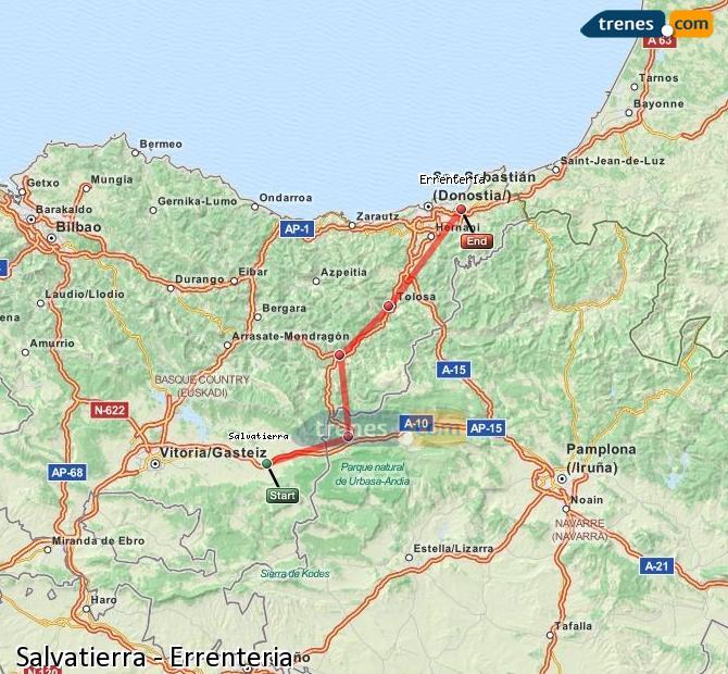 Ampliar mapa Comboios Salvatierra Errenteria