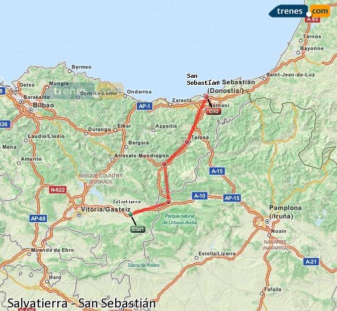 Ampliar mapa Trenes Salvatierra San Sebastián