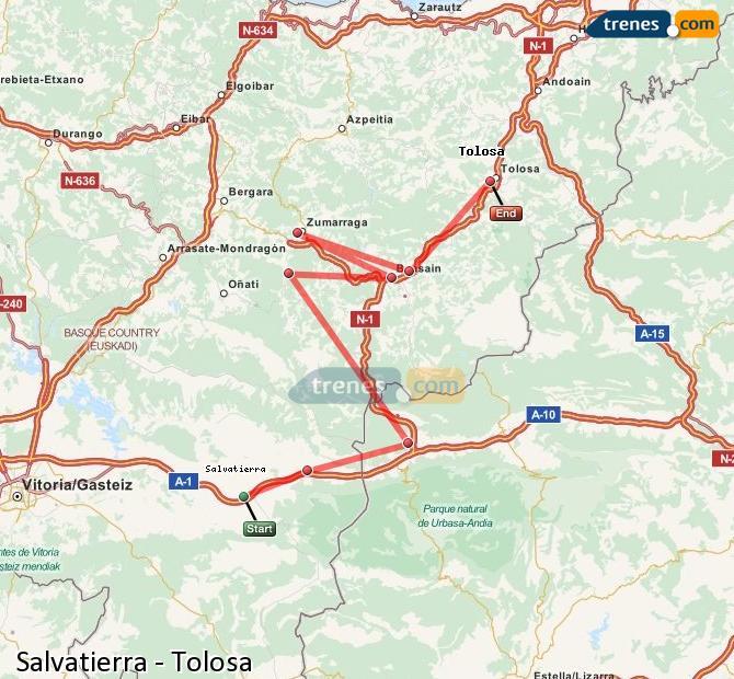 Karte vergrößern Züge Salvatierra Tolosa