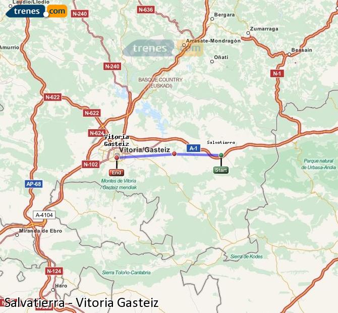 Agrandir la carte Trains Salvatierra Vitoria Gasteiz