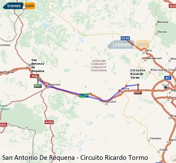 Enlarge map Trains San Antonio De Requena to Ricardo Tormo Circuit