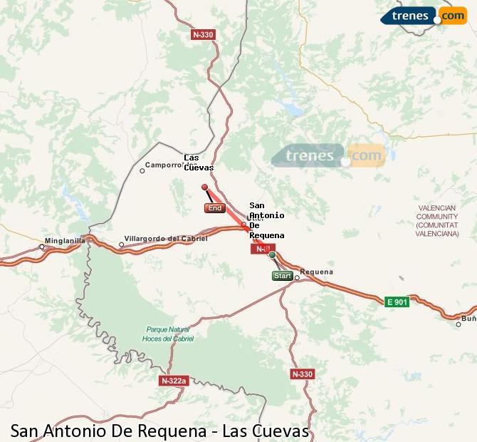 Enlarge map Trains San Antonio De Requena to Las Cuevas