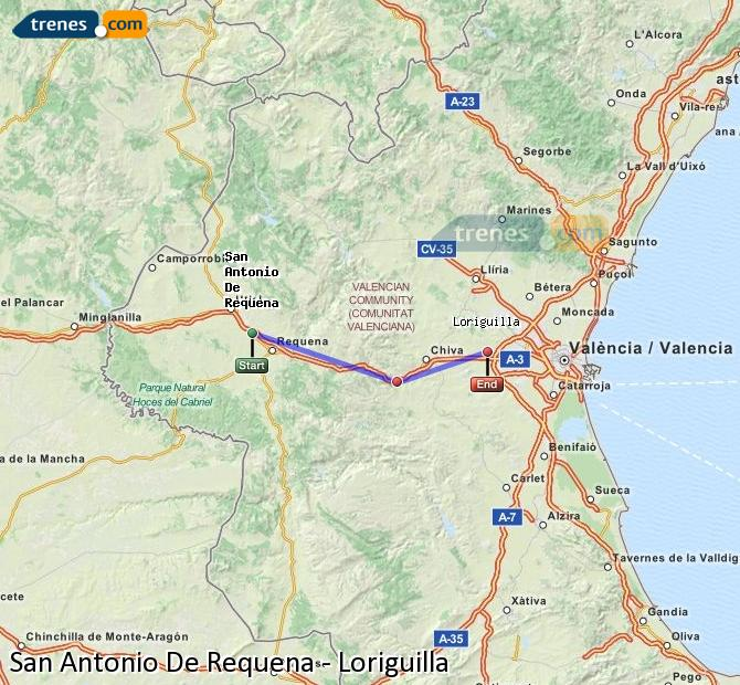 Enlarge map Trains San Antonio De Requena to Loriguilla
