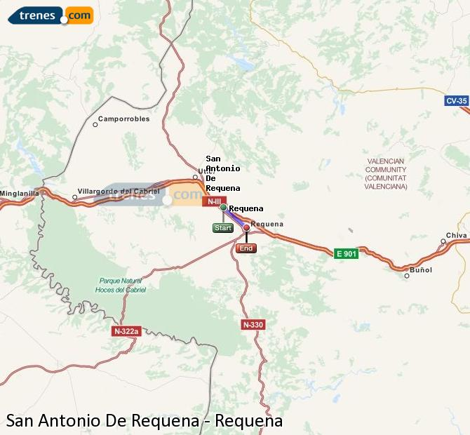 Agrandir la carte Trains San Antonio De Requena Requena