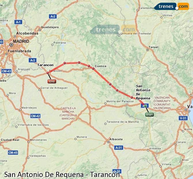 Enlarge map Trains San Antonio De Requena to Tarancon