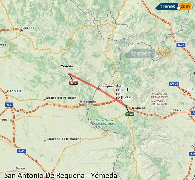 Ingrandisci la mappa Treni San Antonio De Requena Yémeda