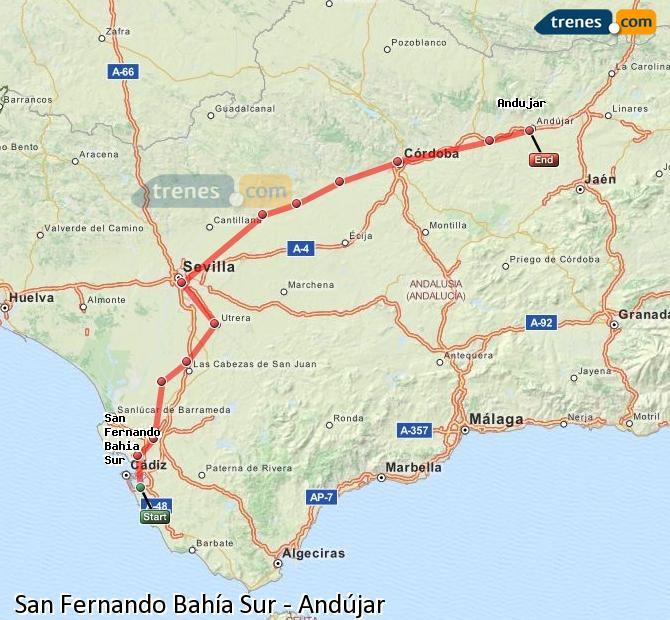 Enlarge map Trains San Fernando South Bay to Andújar