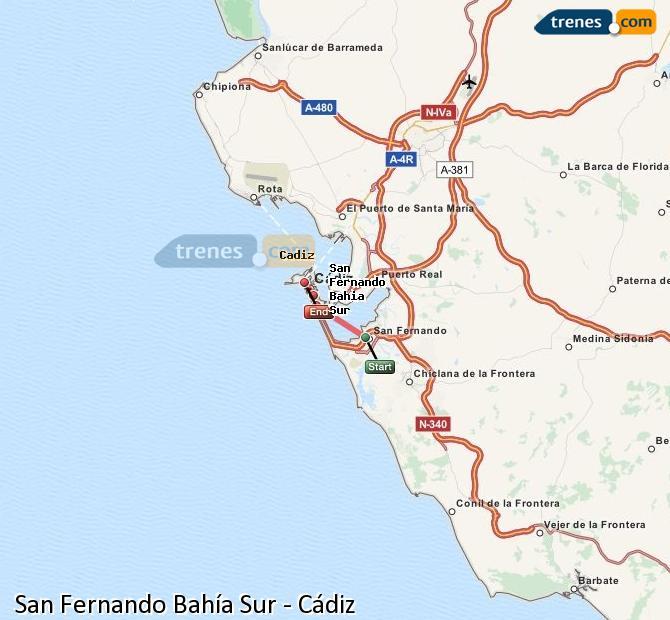 Ampliar mapa Trenes San Fernando Bahía Sur Cádiz