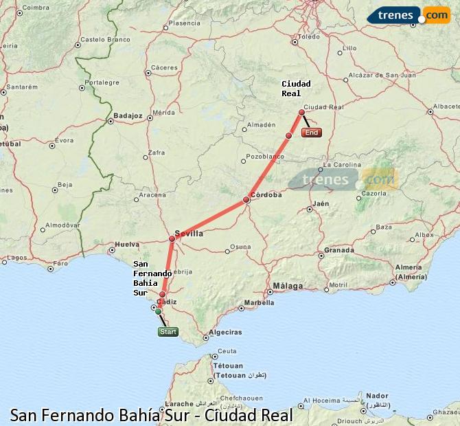 Ampliar mapa Comboios San Fernando Bahía Sur Ciudad Real
