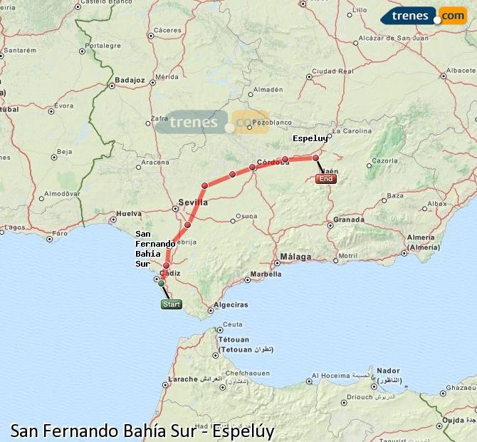 Enlarge map Trains San Fernando South Bay to Espelúy