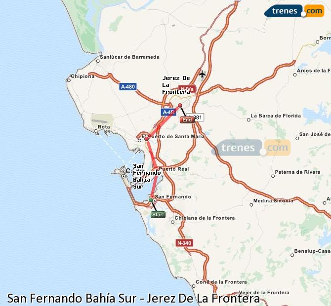 Enlarge map Trains San Fernando South Bay to Jerez De La Frontera