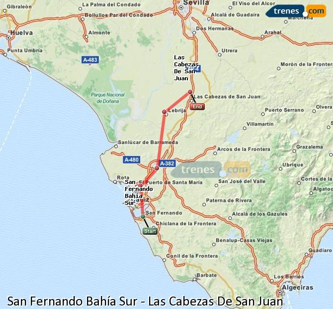 Enlarge map Trains San Fernando South Bay to Las Cabezas De San Juan