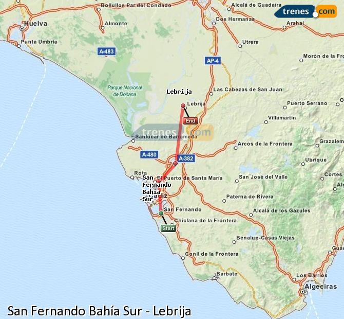 Enlarge map Trains San Fernando South Bay to Lebrija