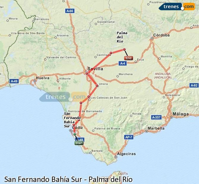 Karte vergrößern Züge San Fernando Bahía Sur Palma del Río