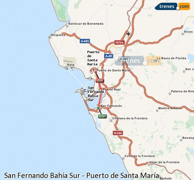 Ampliar mapa Comboios San Fernando Bahía Sur Puerto de Santa María