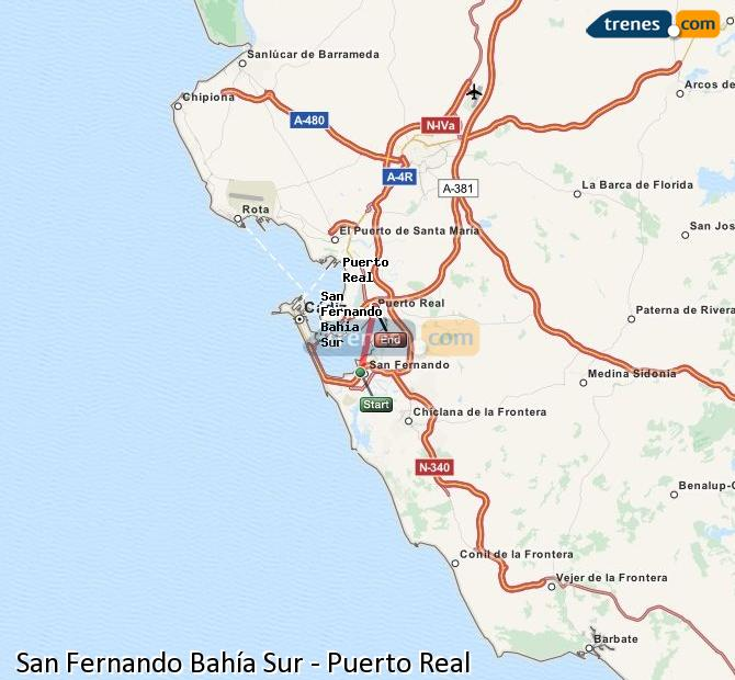 Enlarge map Trains San Fernando South Bay to Puerto Real