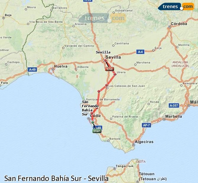Ampliar mapa Comboios San Fernando Bahía Sur Sevilla