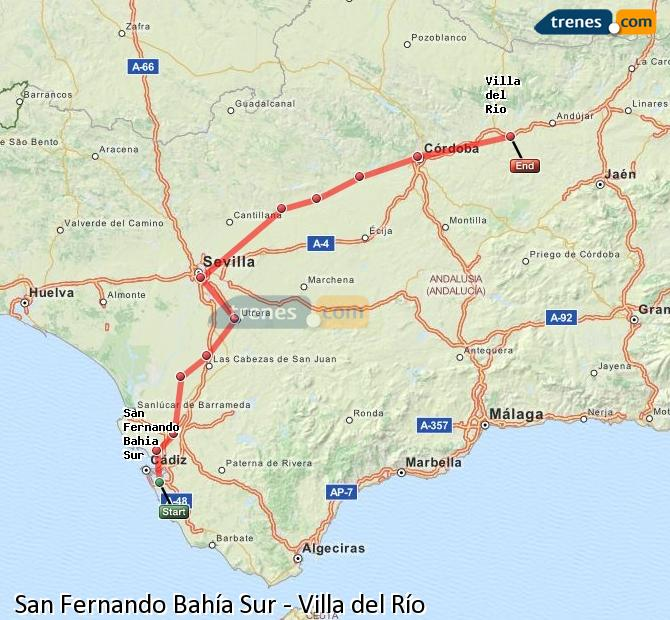 Enlarge map Trains San Fernando South Bay to Villa del Rio