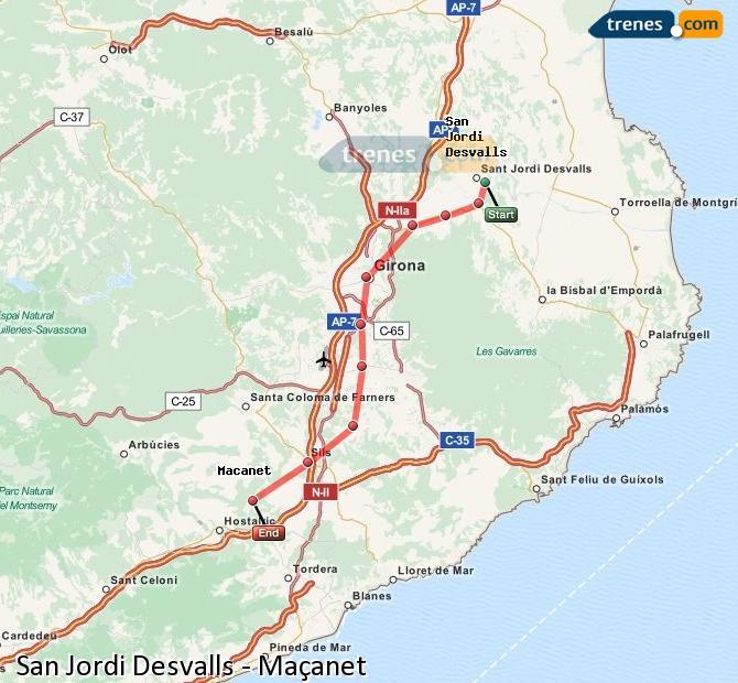 Karte vergrößern Züge Sant Jordi Desvalls Maçanet