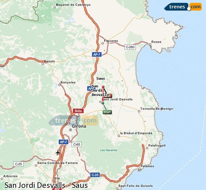Ingrandisci la mappa Treni Sant Jordi Desvalls Saus