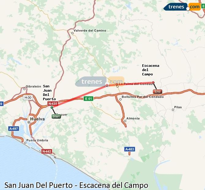 Enlarge map Trains San Juan Del Puerto to Escacena del Campo