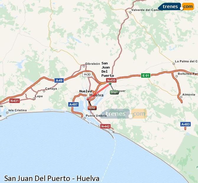 Ampliar mapa Trenes San Juan Del Puerto Huelva