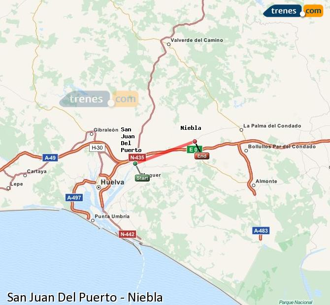 Enlarge map Trains San Juan Del Puerto to Niebla