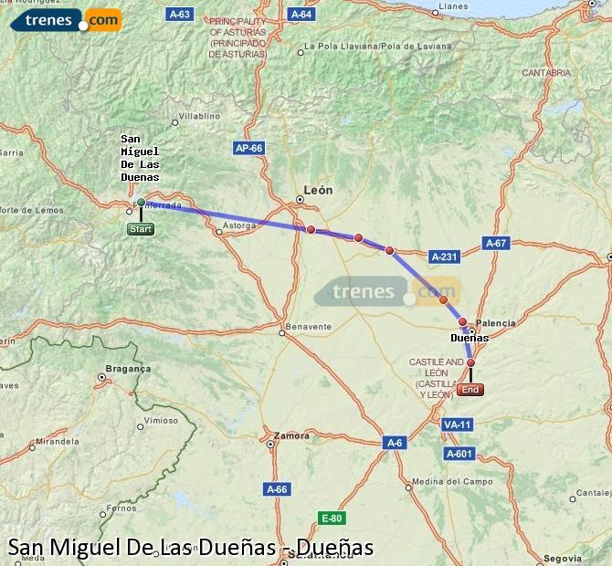 Ingrandisci la mappa Treni San Miguel De Las Dueñas Dueñas